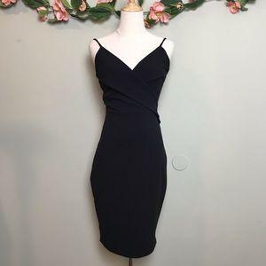 Lulus Black Overlapping V-Neck bodycon Strap Dress